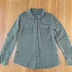Women's button down army green top